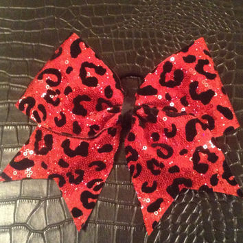 Red Sequins Cheetah Cheer Bow by FlippinBows on Etsy