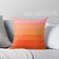 Malibu Barbie OMBRE Throw Pillow 16x16 Graphic Living Coral Print Cover Couch Home Decor Geometric Pattern Print Orange Pink Bright Red Bold