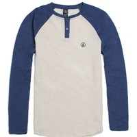 Volcom Solid Colorblock Raglan Long Sleeve Knit Shirt - Mens Shirt - Blue