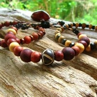 Stackable Wooden Beaded Bracelets / Stretchy Bracelet / Beaded Bracelets / 3 Wooden Beaded Bracelets / Mens Bracelets / Surfer Bracelet