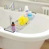 Expandable Standard Bathtub Caddy (Size: 57cm by 13.5cm by 6.8cm, Color: White)
