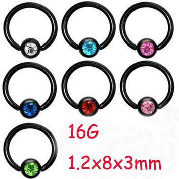 ac PEAPO2Q 2Piece Stainless Steel Black Captive Hoop CBR Eyebrow BCR Tragus Earrings Nose Closure Ring Body Piercings Jewelry Helix