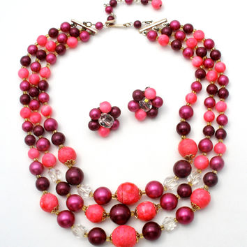 Pink and Purple Bead Necklace Set Vintage