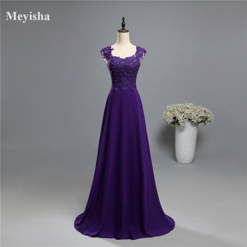 ZJ5121 2017 lace two shoulder Royal Purple chiffon Lace long party colored beads Mother of the Bride Dresses Formal Plus Size