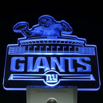 ws0121 NY New York Giants Bar Logo Day/ Night Sensor Led Night Light Sign