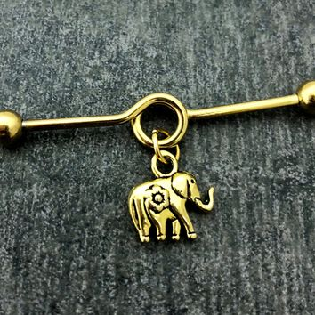 Elephant Industrial barbell, body jewelry, 14 gauge 316L Surgical Stainless steel
