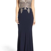 Xscape Embellished Embroidered Gown (Regular & Petite) | Nordstrom