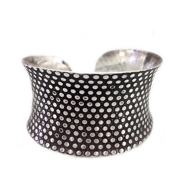 Sterling Silver Wide Boho Statement Cuff Bracelet, Handmade Bracelet with Dot pattern on Oxidized Black Silver, Gift for Her