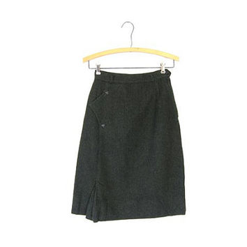 Army Green Wool Pencil Skirt 50s High Waist Prep School 1950s Structured Mod Skirt One Pocket  XS XXS