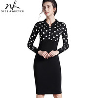 Nice-forever Polka Dot Elegant formal Patchwork Long Sleeve Dress Office Charming Women Ruched Bodycon Shift Pencil Dress 969
