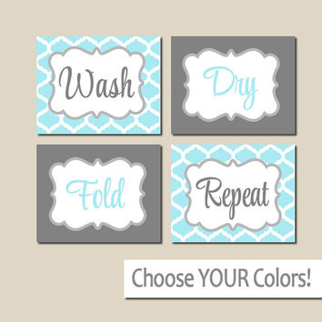 LAUNDRY Wall Art, CANVAS or Prints Blue Gray Decor, Wash Dry Fold Repeat, Laundry Room RULES, Choose Colors, Set of 4 Quatrefoil Home Decor