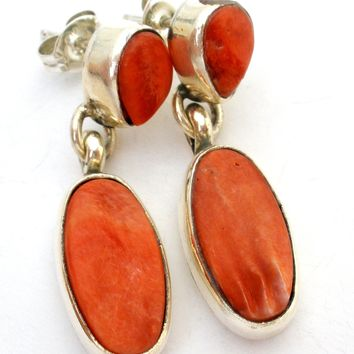 Navajo Spiny Oyster Sterling Silver Earrings by Sarah Chee