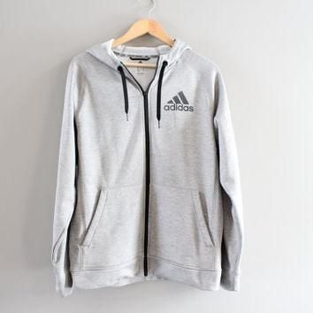 Adidas Zip up Hoodie Light Grey Hooded Sweatshirt Big Logo Fleece Lining Hoodie Grunge