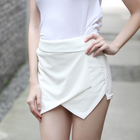 White Asymmetrical Mini Skirt