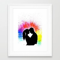 Couple in Rainbow Love Framed Art Print by ahmadillustrations