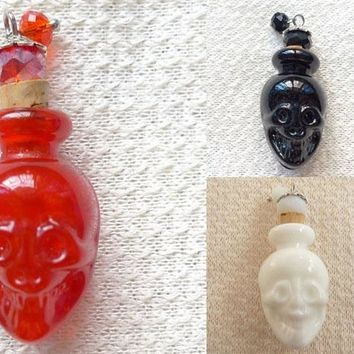 Creative Skull  Crystal  Perfume  Bottle  Glass Beads # 18