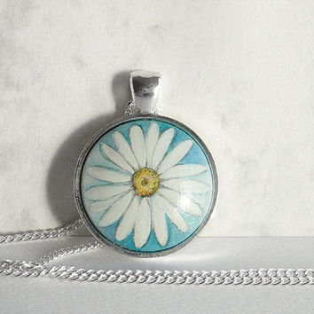 Chic Daisy Necklace Daisy Charm, Daisy Flower Jewelry, Hand Painted Necklace Chain Setting Necklace Cobalt Green Handmade Jewelry, Artdora