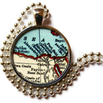 Cairo, Egypt map necklace pendant, Egyptian Jewelry
