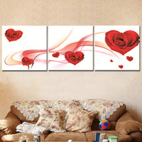 Oil Painting Canvas Print Flower Red Rose Love Landscape Home Decoration Gift for Living Room Wall Art Frameless Picture 3pcs