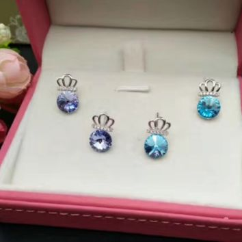 925 sterling silver crown zircon earrings E4846-0414 -Gifts box