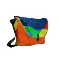 Abstract Circles and Spheres Vector Graphic Messenger Bag