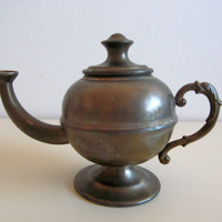 Vintage metal teapot, vintage home decor