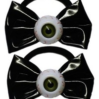 KREEPSVILLE 666 BLACK EYEBALL BOW HAIR BOBBLES