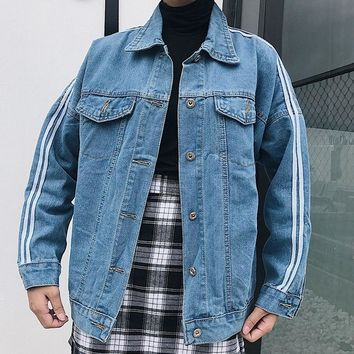 Trendy College Wind Denim Jacket Women's 2018 Autumn and Winter New Fashion Loose Striped Denim Jacket Vintage Lapel Old Jacket #113 AT_94_13