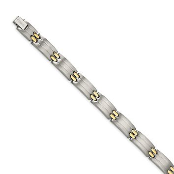 Men's 11mm Titanium and Gold Tone Solid Link Bracelet - 8.5 Inch