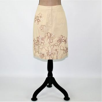 Cotton Skirt Women Small Beige Skirt Midi Pencil Skirt Embroidered Flower Casual Skirt Talbots Size 4 Skirt Vintage Clothing Womens Clothing