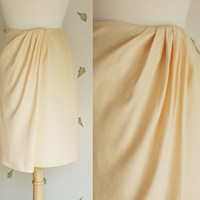 1980's Wrap Skirt / Mini Skirt / Cream Viscose / Extra Small / Vintage 80s