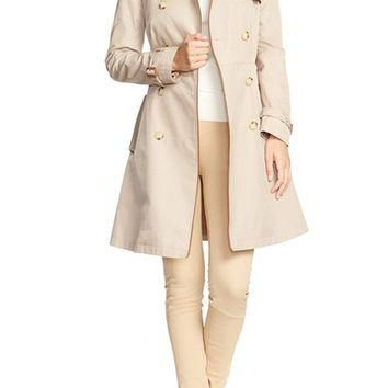 Lauren Ralph Lauren Faux Leather Trim Trench Coat (Regular & Petite) | Nordstrom
