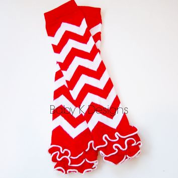 Baby Knit Leg Warmers. Striped Legwarmers Girls Red Candy Cane Chevron Ruffle Cotton Footless Sock Soccer Birthday Dance Gymnastic Ballet