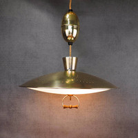 Mid Century Brass Pull Down Light Retractable Chandelier, Atomic UFO Saucer Light