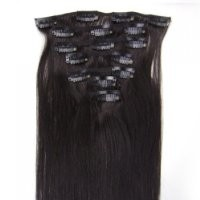 """FANGYUANHAIR 15"""" Clip in 100% Remy Human Hair Straight Extensions Color #1B-off black/natural black 7pcs 70g"""