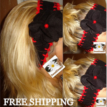 FREE SHIPPING  , Women's Accessories , Black Ear Warmers ,Knitted Headband ,Black And  Red Headband , Button Headband , Women Hair Band