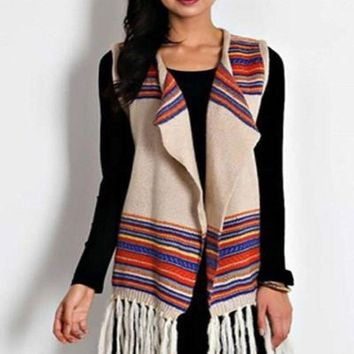 Rainbow Vision Yarn Knit Blanket Vest -Neutral !
