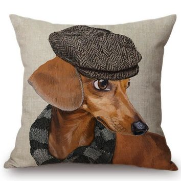 Batman Dark Knight gift Christmas 2018 Fashion Dog Model in Hat Jeans Batman Costume Decorative Pillow Case Cotton Linen Lovely Dachshund Doxie Sofa Cushion Cover AT_71_6