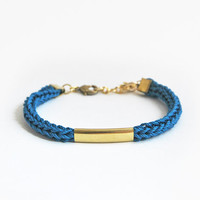 Blue bracelet with tube, knit cord bracelet, tube bracelet, cotton bracelet with star charm, blue cord bracelet