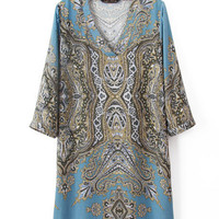 Vintage Tribal Printed V Neck Elbow Sleeve Shift Dress