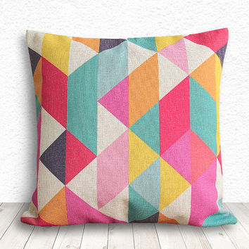Geometric Pillow Cover, Pillow Cover, Fuschia Pillow Cover, Linen Pillow Cover, 18x18 - Printed Geometric - 100
