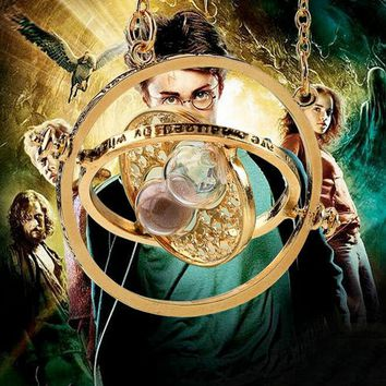 2016 Hot Sale Harry potter time collar necklace turner hourglass Harry Potter Necklace Hermione Granger Rotating Spins