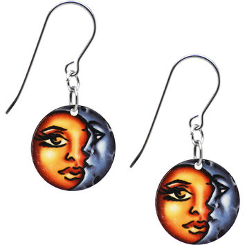 Handcrafted Celestial Sun and Moon Earrings