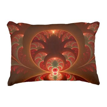 Luminous abstract modern orange red Fractal Accent Pillow