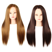 Top-Sales Straight Long Side Parting Wigs with Stand Hair Training Head Makeup Braiding Practice Mannequin Hairdressing Styling