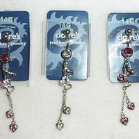 Claires Body Jewelry 14G Danfling Hearts Multi Chain Curved Bar Belly Ring NWT