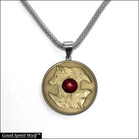 Wolf and Antique Gold Finish Coin In Stainless Steel Bezel on Mesh Chain Necklace