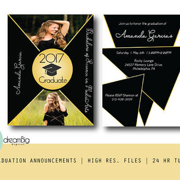 Geometric Graduation, Class of 2017 Announcement, Graduation Invitations, Digital Invites, College Invitations
