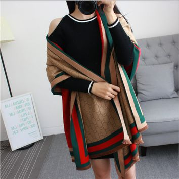 Gucci woman Cashmere shawls scarf Double sided thermal scarf