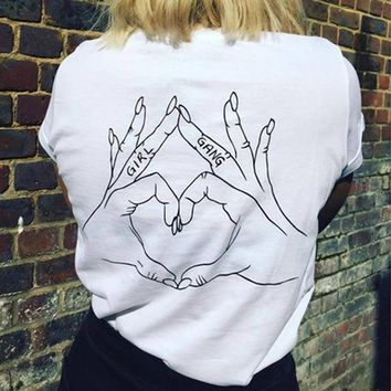 Girl Gang Love Hand Sign Back Printed Feminism T-Shirt Women Tumblr Fashion Casual Loose White Tee Summer Fashion Cool Tops